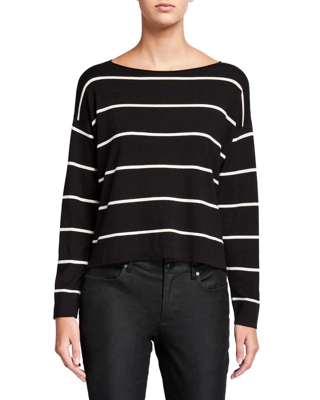 Eileen Fisher Sweaters PETITE STRIPED LIGHTWEIGHT SHORT BOAT-NECK SWEATER