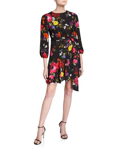 Mina Puff-Sleeve Godet Dress with Belt