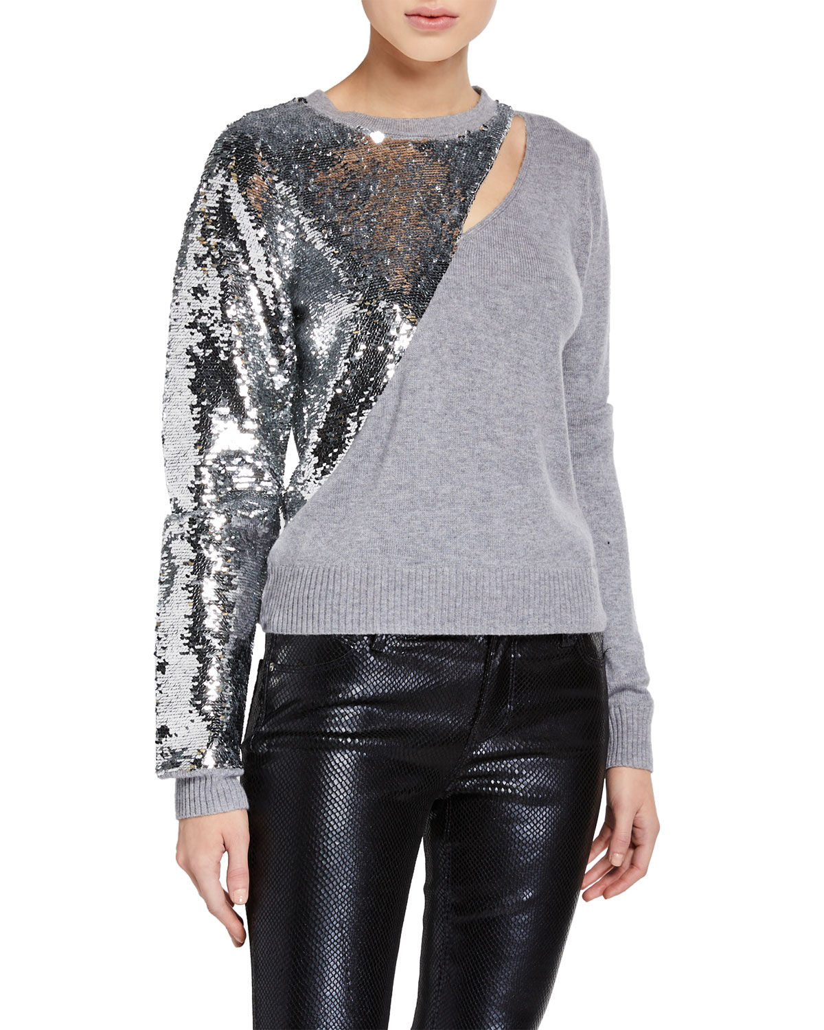 Teagan Slashed Sequined Pullover Sweater