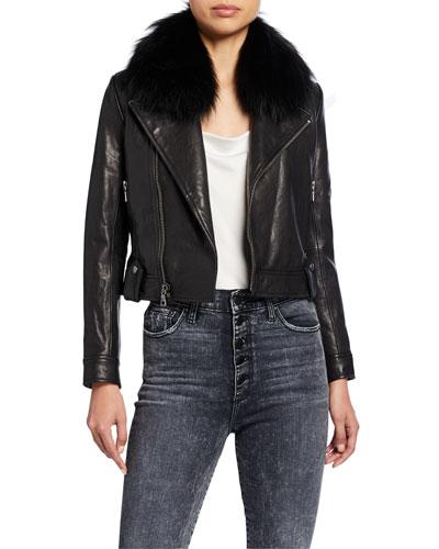 Derose Leather Jacket with Detachable Fur Collar