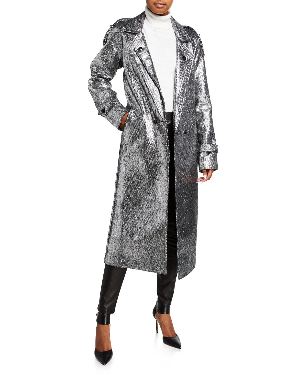 Andi Metallic Tweed Long Coat