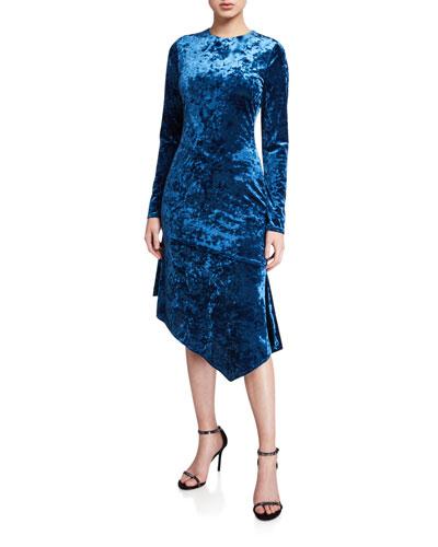 Maddox Long-Sleeve Asymmetric Crushed Velvet Sheath Dress