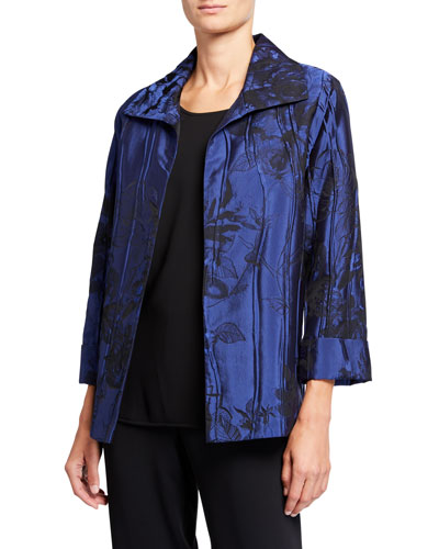 Plus Size Crinkle Rose Jacquard A-Line Jacket