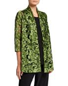 Caroline Rose Flourish Embroidery 3/4-Sleeve Cardigan
