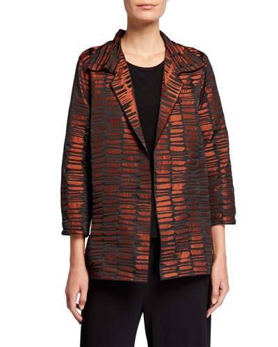 Plus Size Crinkle Jacquard Mid Easy Shirt Jacket