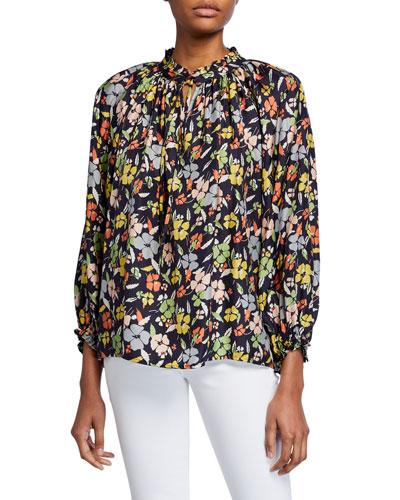 The Lyric Floral Long-Sleeve Silk Top