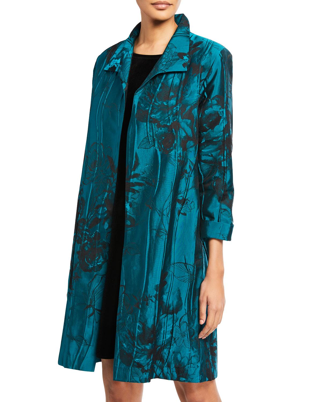 Caroline Rose Coats CRINKLE ROSE JACQUARD TOPPER COAT