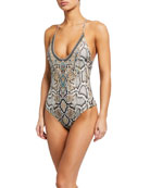 Camilla Scoop-Neck Strappy One-Piece Swimsuit