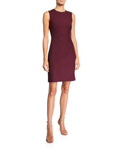 Fitted Wool Sleeveless Sheath Dress