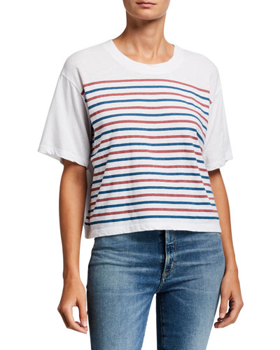 Striped Boxy Cropped Tee