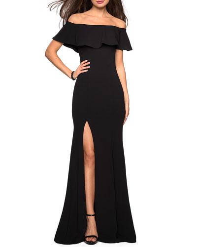 Off-the-Shoulder High-Slit Jersey Dress