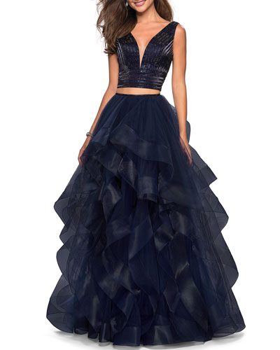 2-Piece Jeweled & Tulle Ruffle Top & Skirt Gown Set