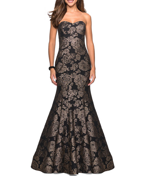 La Femme Strapless Sweetheart Rose-Print Mermaid Gown