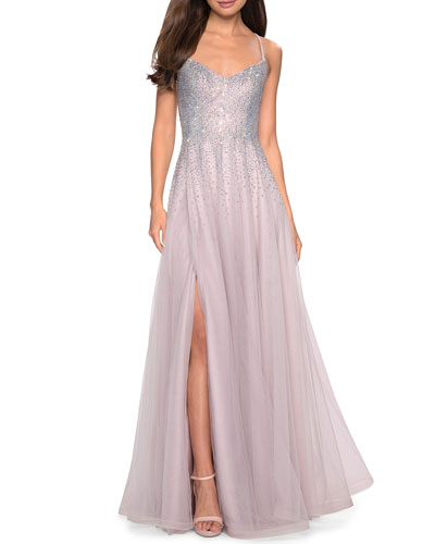 Sleeveless Long Embellished Tulle Gown