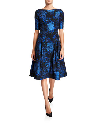 Short-Sleeve Stretch Jacquard Fit-&-Flare Dress