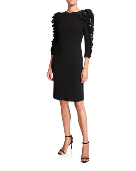 Rickie Freeman for Teri Jon Crepe Sheath Dress with Taffeta Pearl Ruffle Trim