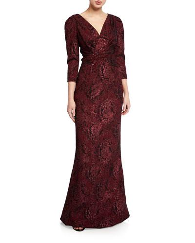 Draped V-Neck 3/4-Sleeve Stretch Jacquard Gown