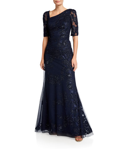 Asymmetric-Neck Elbow-Sleeve Velvet Gown with Mesh Overlay