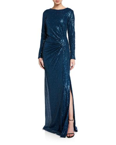 Sequin Long-Sleeve Column Gown