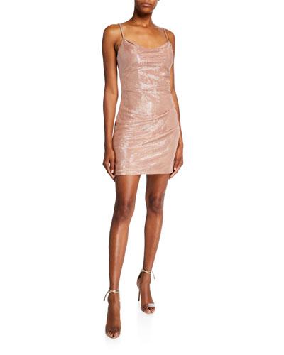 Glittery Cowl-Neck Spaghetti-Strap Mini Dress