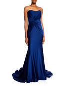 Faviana Side-Knot Shirred Strapless Charmeuse Gown