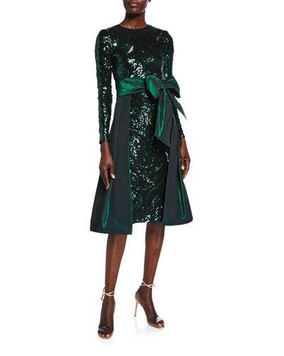 Sequin Cocktail Dress with Taffeta Overskirt