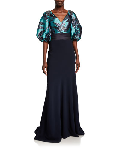 Bishop-Sleeve Jacquard Bodice Gown with Crepe Skirt