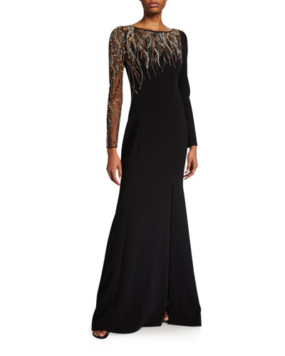 Bead Embellished Long-Sleeve Crepe Gown w/ Illusion Sleeve
