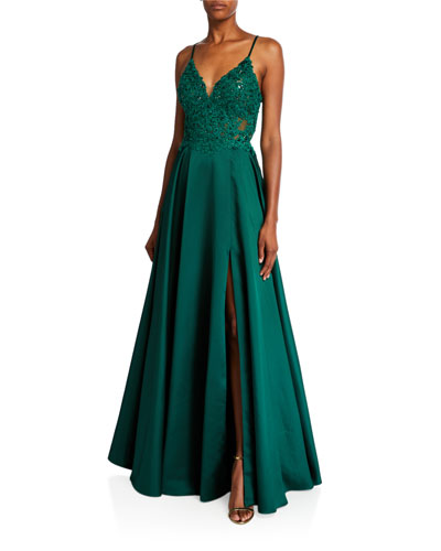 V-Neck Sleeveless Lace-Up Back Satin Gown with Applique Bodice