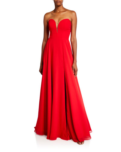 Strapless Sweetheart Chiffon Gown