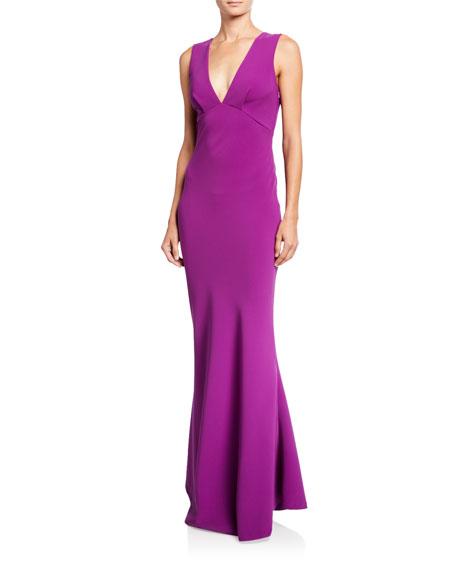 Sachin & Babi Danalyn V-Neck Bow-Bow Sleeveless Stretch Crepe Column Dress