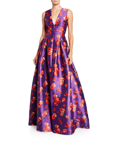 Brook Floral V-Neck Sleeveless Twill Ball Gown