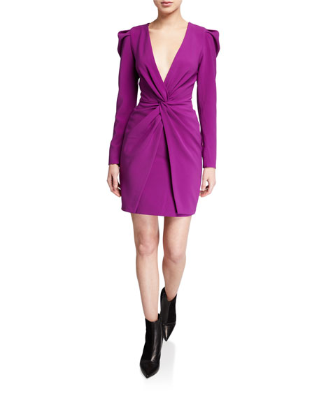Sachin & Babi Agnes Plunge V-Neck Long-Sleeve Twist-Front Mutton Dress