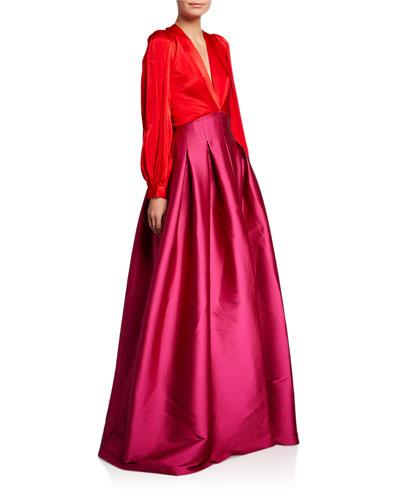 Juliette Colorblock V-Neck Long-Sleeve Gown w/ Twill Skirt