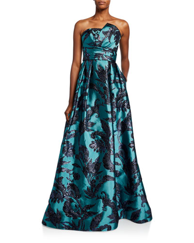 Strapless Bustier Brocade A-Line Gown with Draped Bodice