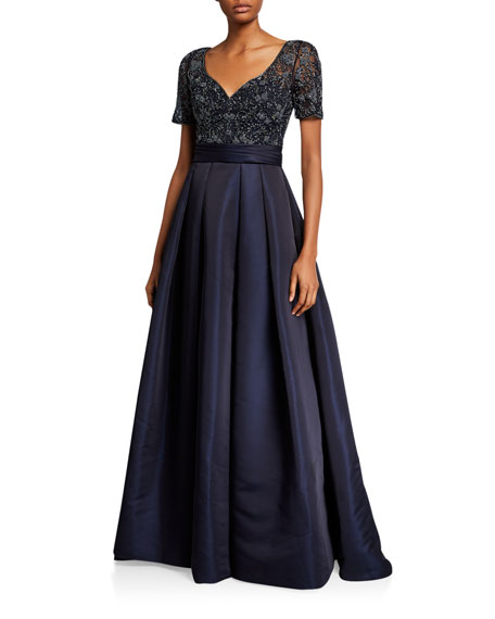 Theia Couture Beaded Bodice V-Neck Short-Sleeve Gown w/ Duchess Satin Skirt