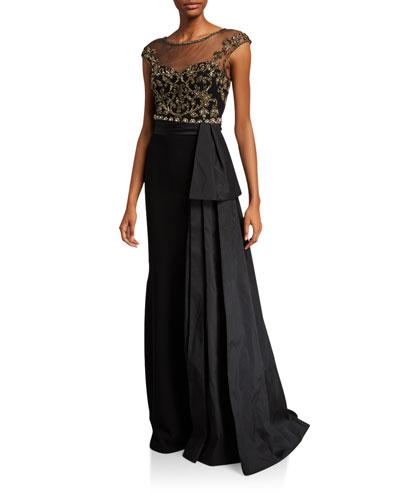 Cap-Sleeve Bead Embellished Bodice Gown w/ Taffeta Bow
