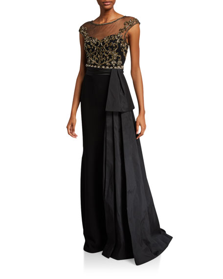 Theia Couture Cap-Sleeve Bead Embellished Bodice Gown w/ Taffeta Bow