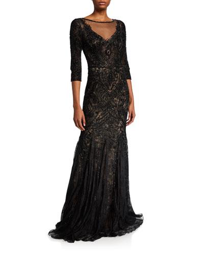 Embellished Tulle 3/4-Sleeve Godet Illusion Gown
