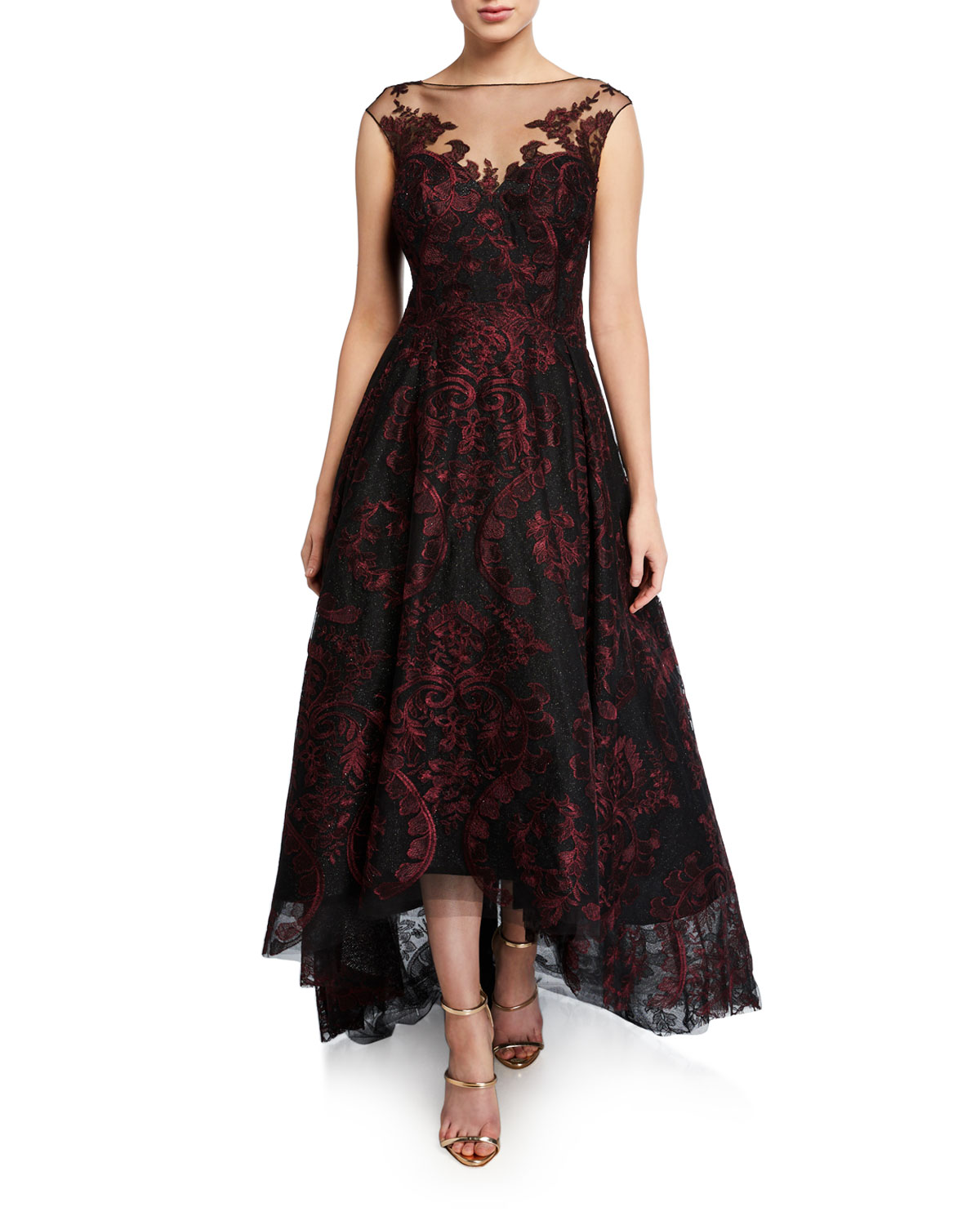 Rickie Freeman For Teri Jon Dresses CAP-SLEEVE HIGH-LOW EMBROIDERED TULLE ILLUSION DRESS