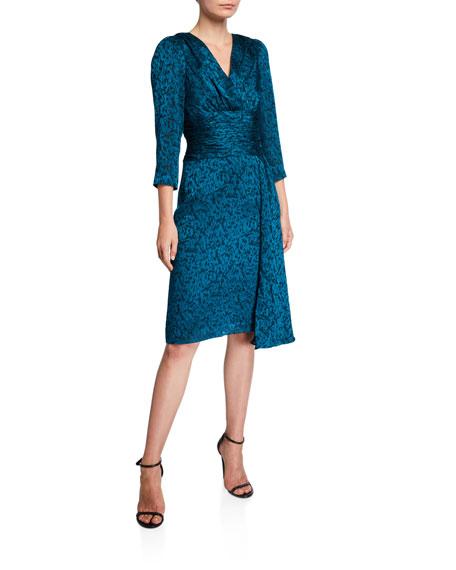 Rickie Freeman for Teri Jon V-Neck 3/4-Sleeve Burnout Sarong Draped Skirt Dress