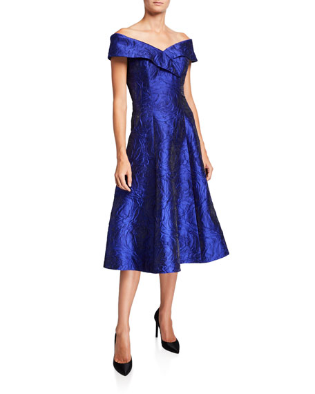 Rickie Freeman for Teri Jon Off-the-Shoulder Fit-&-Flare Jacquard Dress