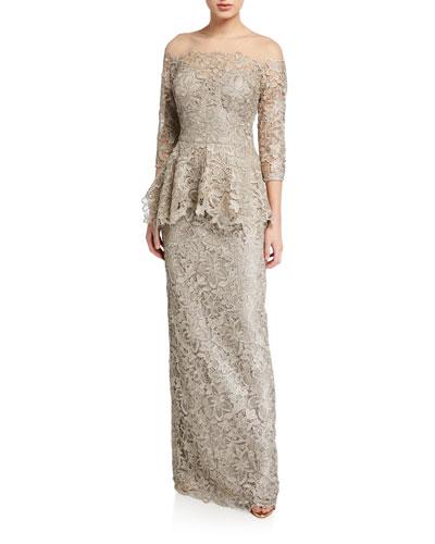Metallic Lace 3/4-Sleeve Sheer Yoke Peplum Gown