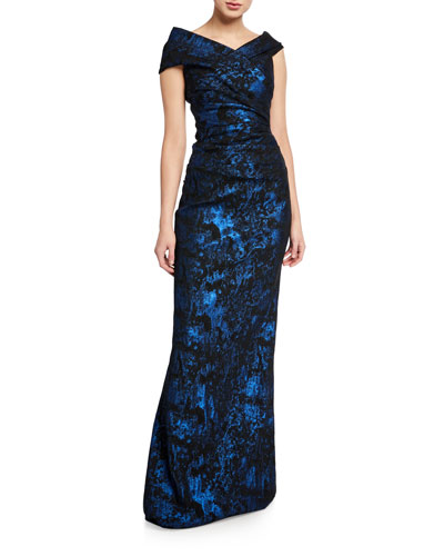 Stretch Jacquard Draped Off-the-Shoulder Gown
