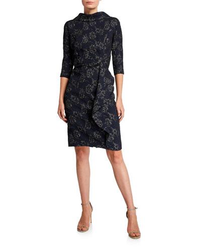Roll-Neck 3/4-Sleeve Stretch Jacquard Dress with Side Drape