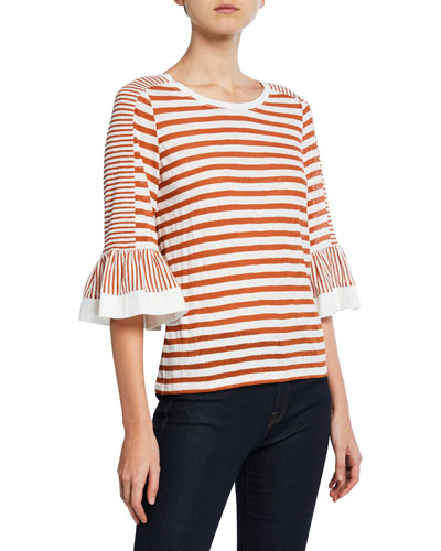 Finn Striped Boat-Neck 3/4-Bell Sleeve Top
