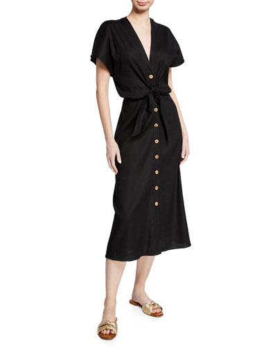 Giana Tie-Front Linen Shirtdress