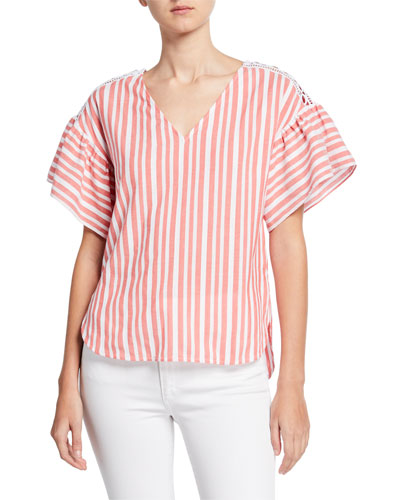 Summer Textured Striped V-Neck Ruffle-Sleeve Top