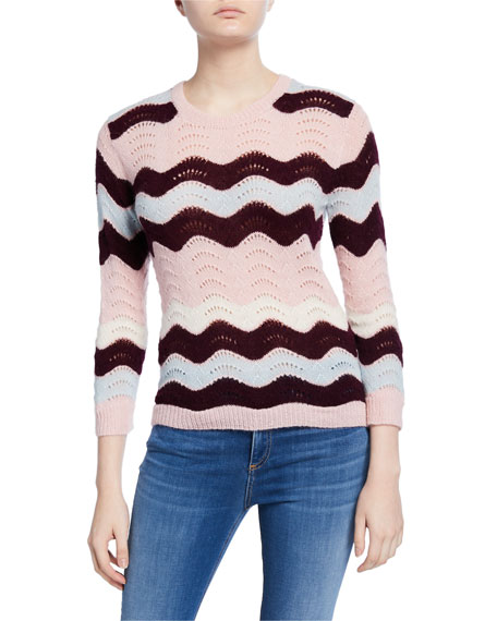LoveShackFancy Ariella Zigzag Striped Crewneck Sweater