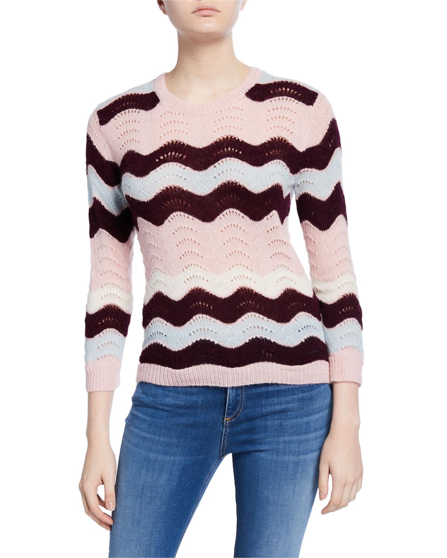 Ariella Zigzag Striped Crewneck Sweater